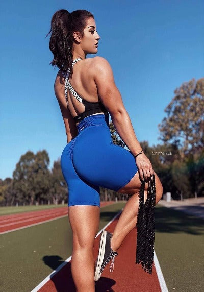 BIKE SCRUNCH SHORTS - Electric Blue - Be Activewear