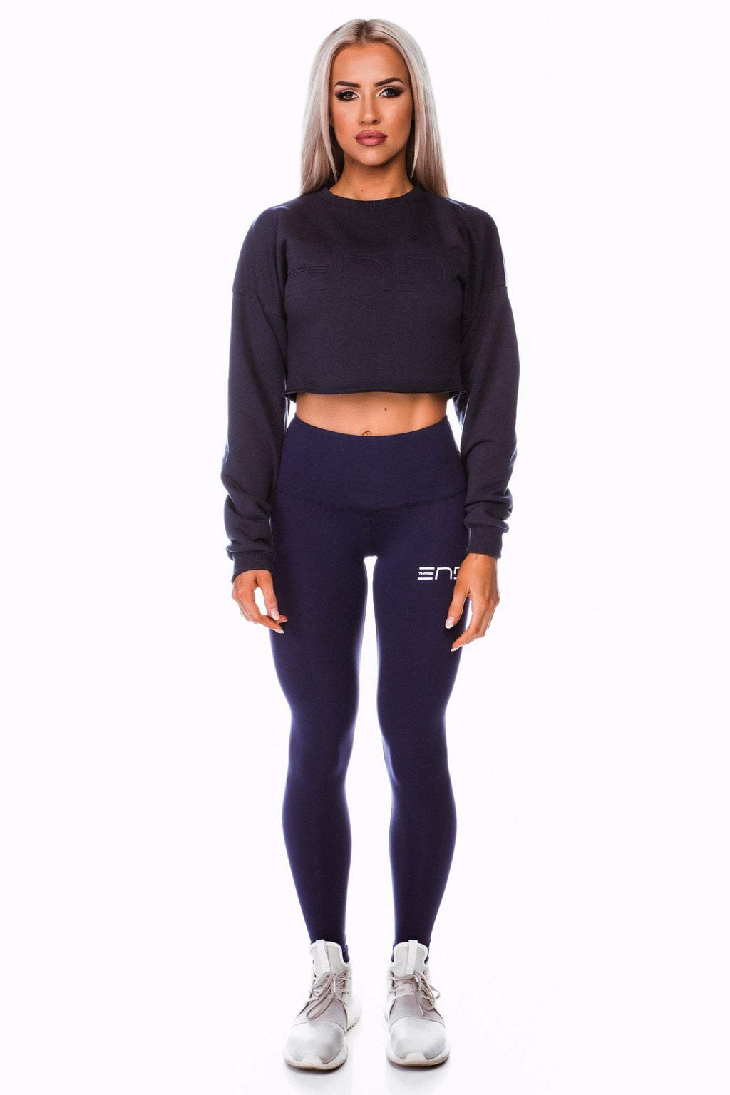 Three End Apparel Jumper SHORTY CROP JUMPER - NAVY