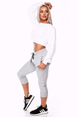 Three End Apparel Jumper SHORTY CROP JUMPER- WHITE