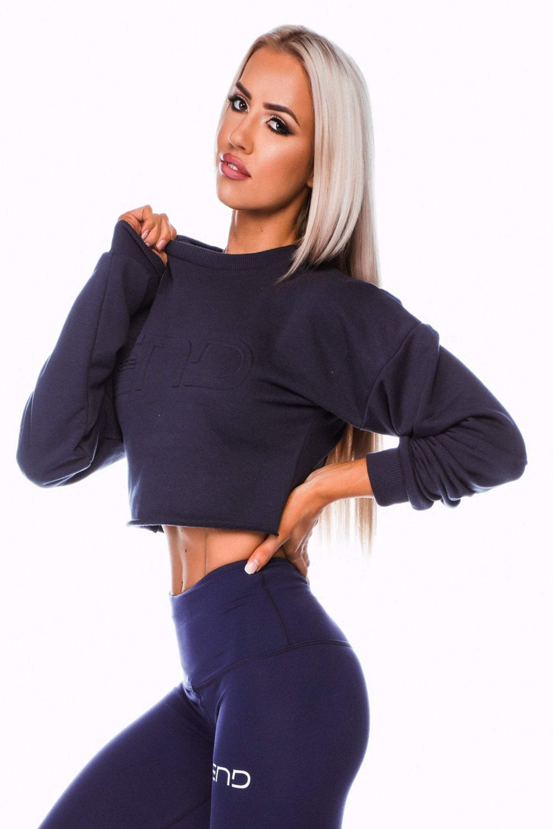 SHORTY CROP JUMPER - NAVY - Be Activewear