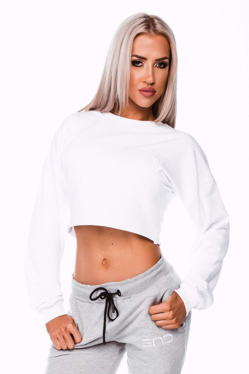 SHORTY CROP JUMPER- WHITE - Be Activewear