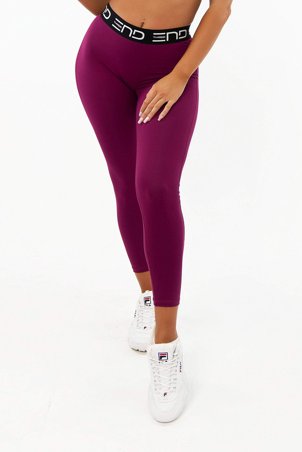 Three End Apparel Tights XS TRACK HIGH WAIST LEGGINGS - BURGUNDY