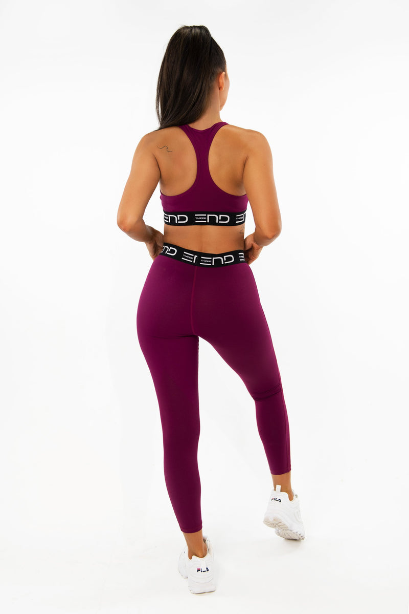 TRACK HIGH WAIST LEGGINGS - BURGUNDY - Be Activewear