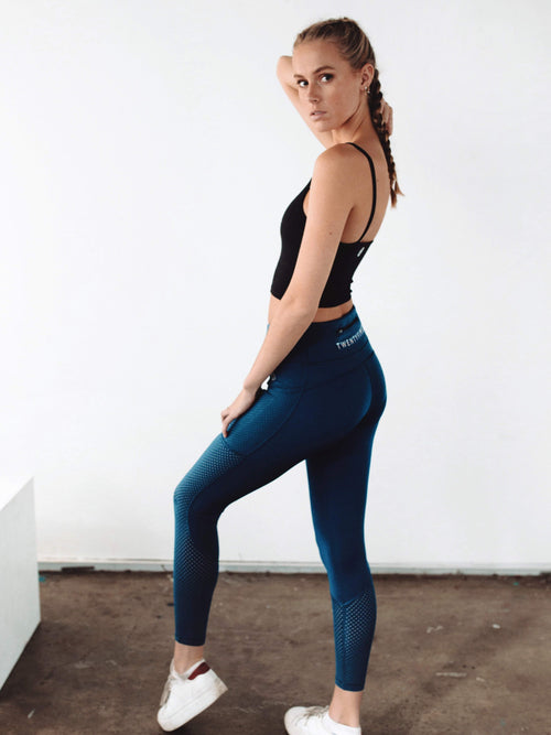 Viper Mesh Accent Tights Teal - Be Activewear