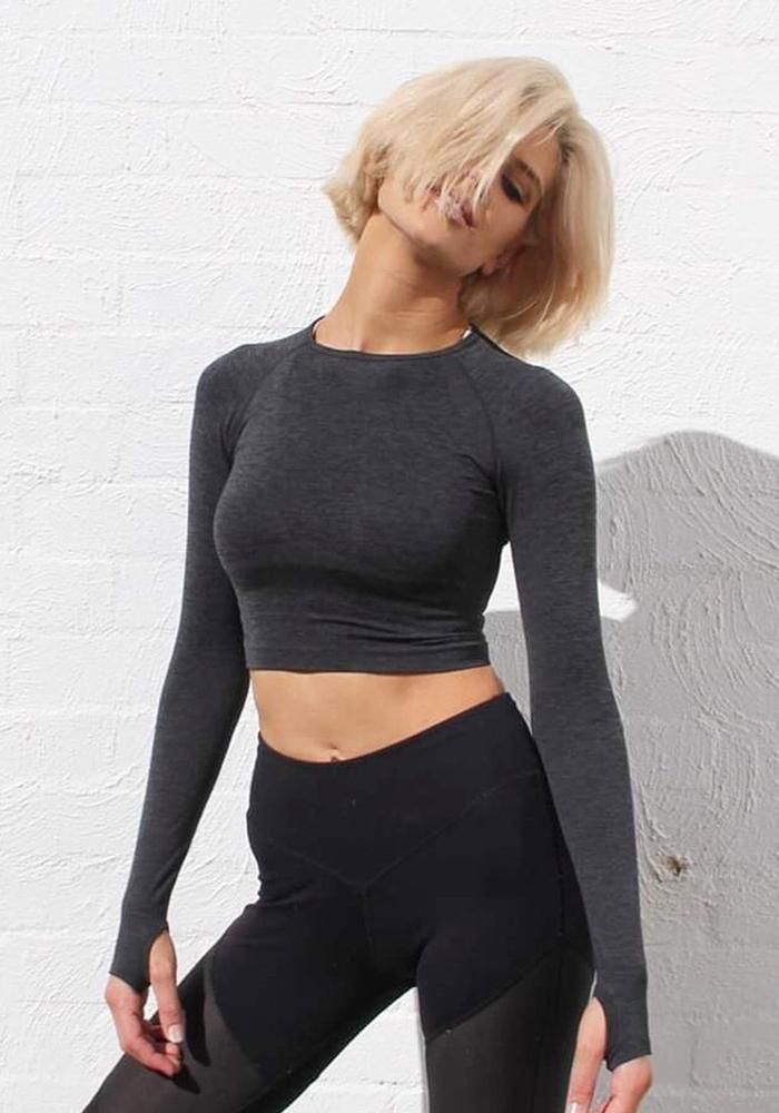 Vault Active Crop Tops KS Seamless Black