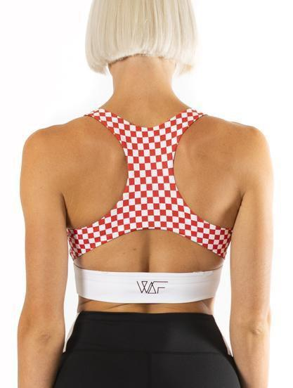 We Are Found Active Crop Tops XS (6-8) Miss Moto crop top - black with red check