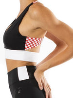 Miss Moto crop top - black with red check - Be Activewear