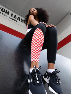 We Are Found Active Tights Miss Moto tights - Black with red checks