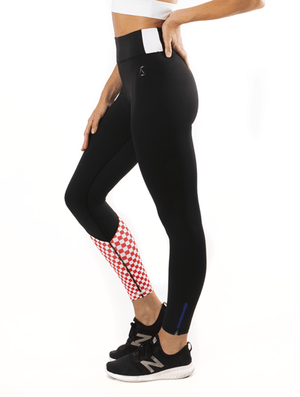 We Are Found Active Tights XS (6-8) Miss Moto tights - Black with red checks
