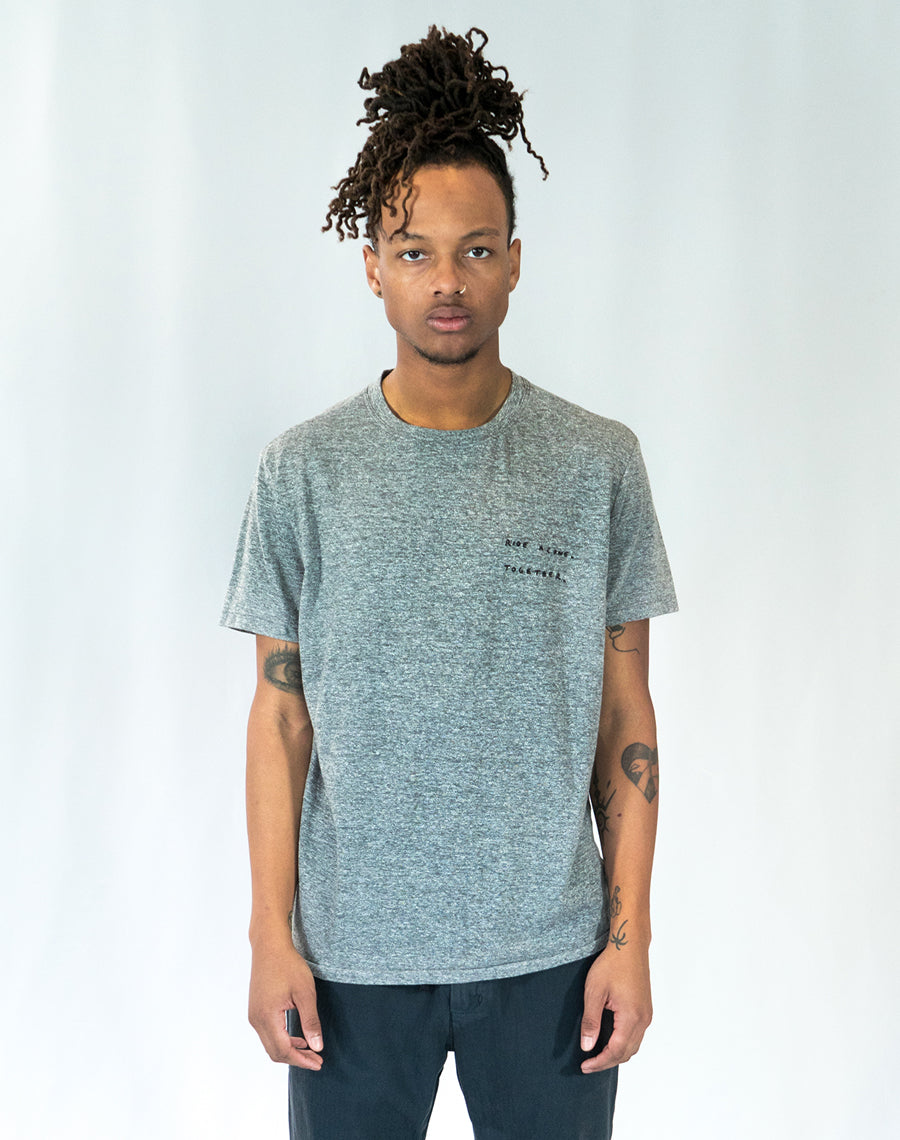Lone Wolfs Ride Alone Together embroidered Heather grey Tee