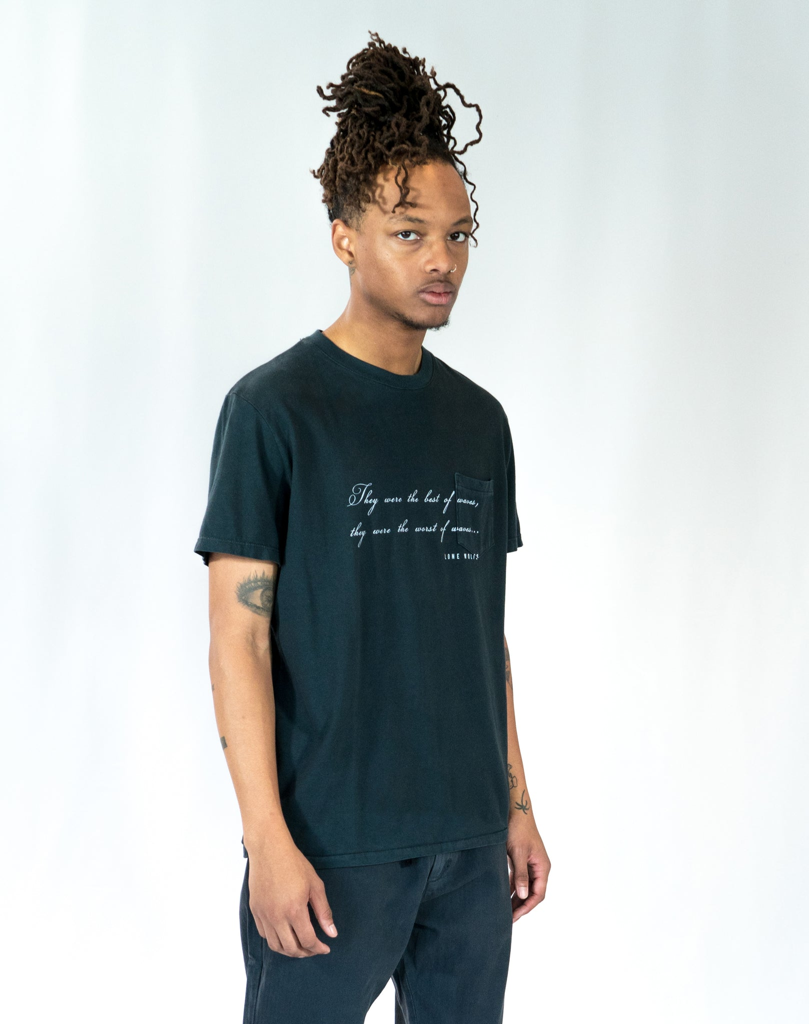 Lone Wolfs Best of Waves Black Pocket T-shirt