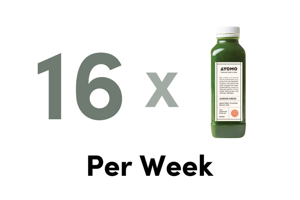 16 x BOTTLES OF COLD PRESSED JUICES DELIVERED PER WEEK -  - Subscription - Ayomo