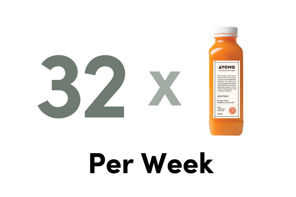 32 x BOTTLES OF COLD PRESSED JUICES DELIVERED PER WEEK -  - Subscription - Ayomo