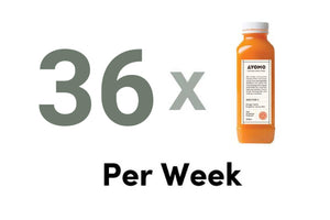 36 x BOTTLES OF COLD PRESSED JUICES + 6 RAW TREATS DELIVERED PER WEEK