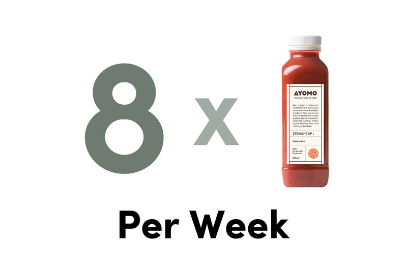 8 x BOTTLES OF COLD PRESSED JUICES DELIVERED PER WEEK -  - Subscription - Ayomo