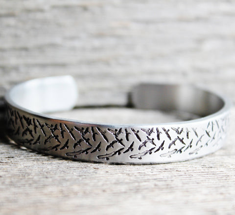 Bracelet BIRDS Hand Stamped Cuff Silver Aluminum Metal Jewelry Flock Of Birds Design Bird Watcher Watching Ornithologist Ornithology