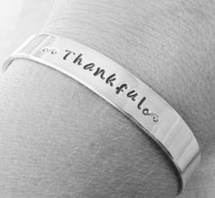 Cuff THANKFUL Bracelet Hand Stamped Aluminum Made To Order Personalized Inspirational Custom Quote Metal Jewelry Lightweight