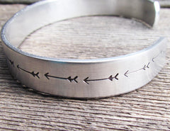 ARROWS Cuff Bracelet Can Be Personalized Hand Stamped Aluminum Handstamped Arrow Aztec
