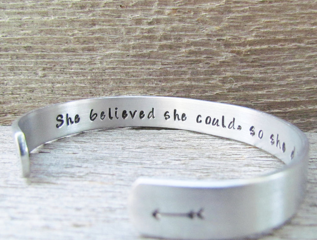Bracelet Secret Message Hand Stamped Jewelry Cuff Aluminum She Believed She Could So She Did Quote Personalized Inspirational Milestone