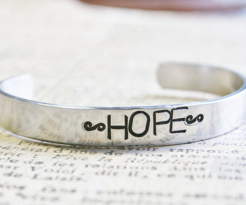 Bracelet Hand Stamped HOPE Custom Name Cuff Aluminum Multiple Sizes Available Design Your Own Handstamped