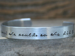 Bracelet Hand Stamped Jewelry Cuff She Believed She Could So She Did Quote Personalized Inspirational Milestone Graduation Achievement