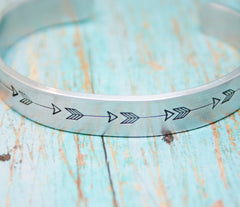 Bracelet ARROW Hand Stamped Jewelry Cuff Tribal Native Great Gift For Friend Follow Your Arrow Trendy Sturdy 12 Gauge Aluminum Silver Color