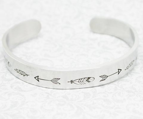 Bracelet Feather Arrow Hand Stamped Jewelry Cuff Tribal Native Great Gift For Friend Sturdy 12 Gauge Aluminum Silver Color Trendy
