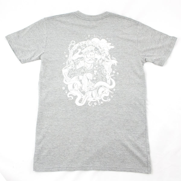 Grey cotton t shirt with short sleeves