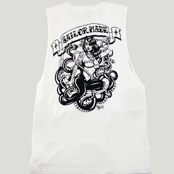 White cotton raw edge singlet with 50s style mermaid pinup design