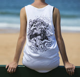 White SAILORMADE cotton singlet with OX KING design