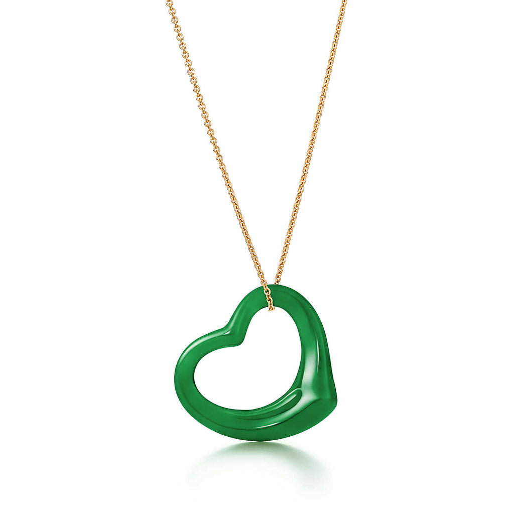 Tiffany & Co Elsa Peretti® Open Heart pendant in 18k gold with green jade