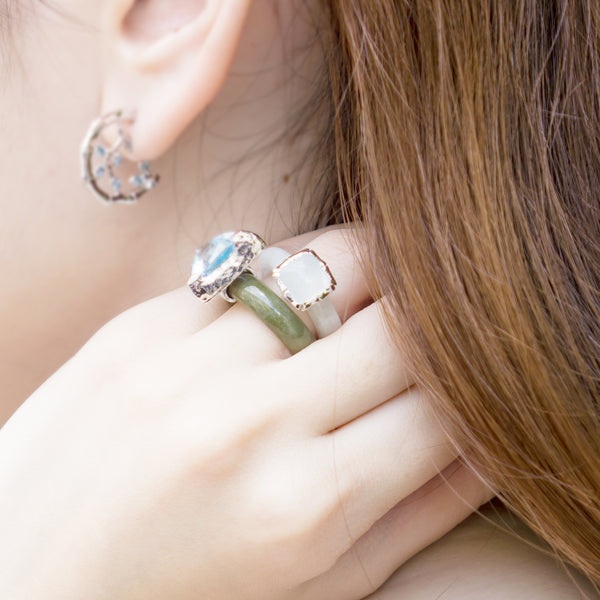 Choo Yilin Jade Jewellery Bamboo Cushion Jade Ring Moonstone