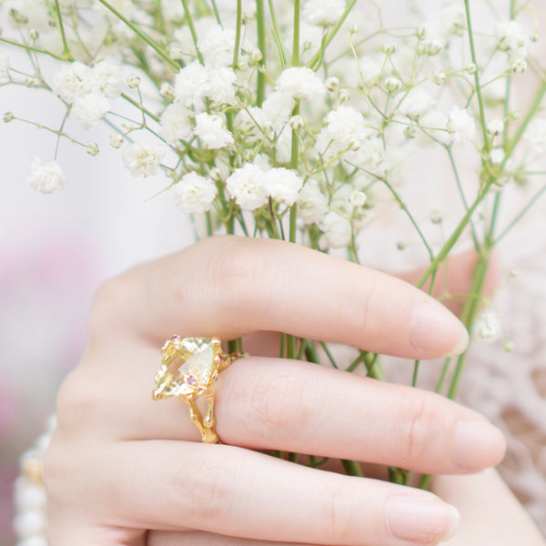 Choo Yilin Jade Jewellery Lemon Quartz Bamboo Willow Ring