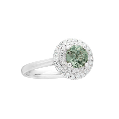 Engagement Sapphire Ring 0.67ct Brownish Green