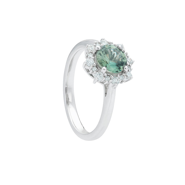 Engagement Sapphire Ring 0.94ct Bluish Green