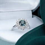Engagement Sapphire Ring 0.88cts Greenish Blue