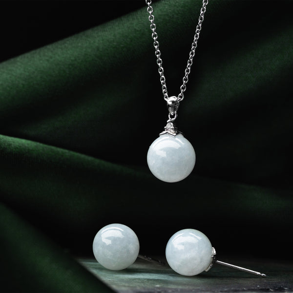 Classic Jade Necklace - Mist (9KT)