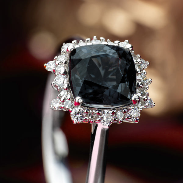 Engagement Spinel Ring 1.83cts Greyish Purple