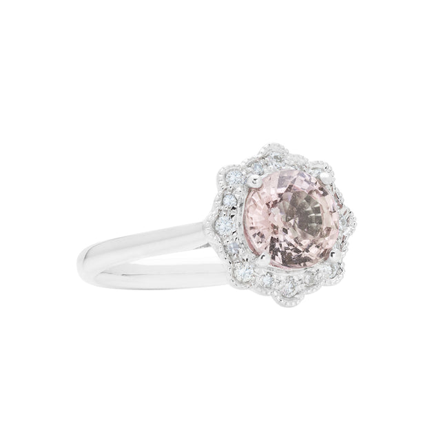 Engagement Sapphire Ring 1.46cts Purplish Orange Pink