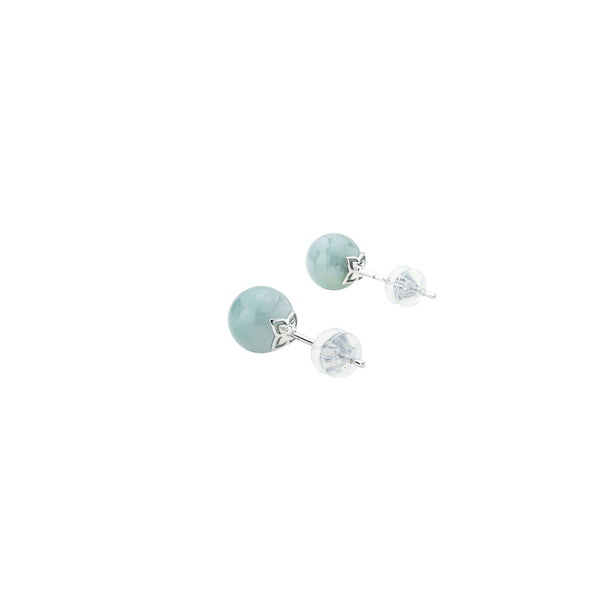 Classic Jade Studs - Forest (9KT)