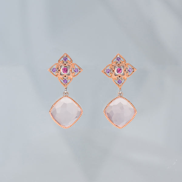 Peranakan Flower Drop Earrings (9KT)