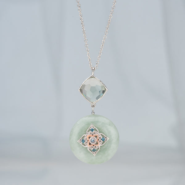 Peranakan Flower Jade Necklace (9KT)