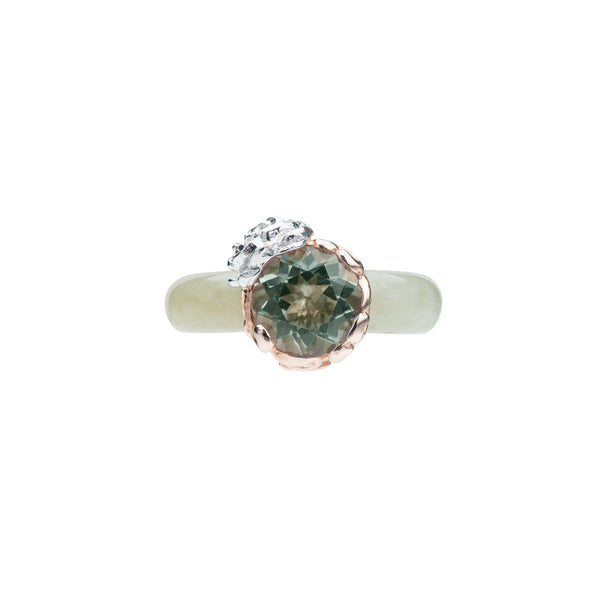 Flower Jade Ring (9KT)