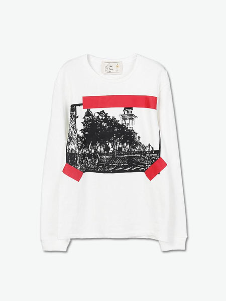 Looking Up The Cuban Clock Tower Long-Sleeve T-Shirt (White) - daretodreamhk