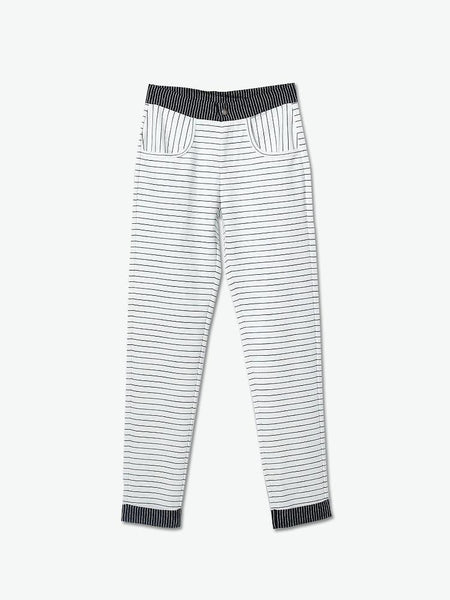 Rolled-up Ponte Striped Knit Chinos - daretodreamhk