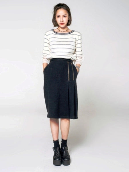 Double Pleat Pencil Skirt - daretodreamhk