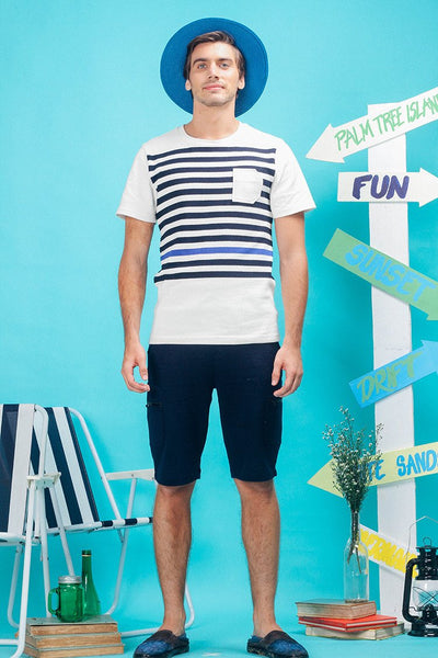 Engineered Stripe Tee with D-shaped Pocket - daretodreamhk