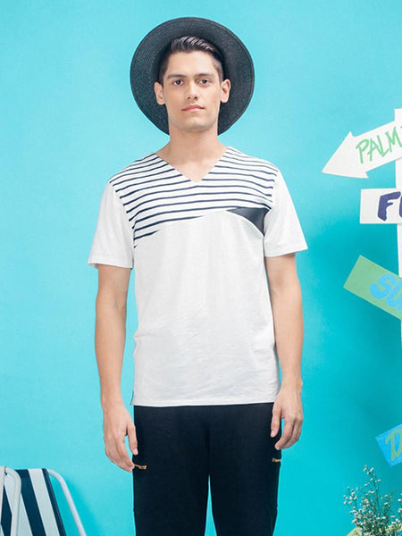 Layer & Slice Stripe V-Neck T-Shirt - daretodreamhk