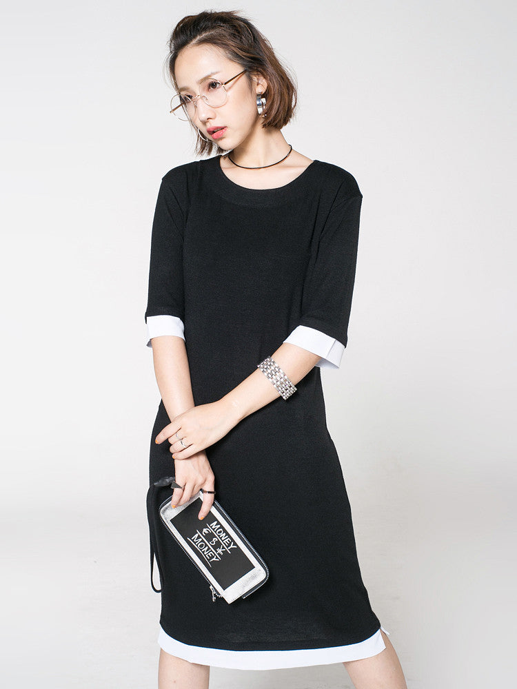 Girls Sleeve Round Neck T-Shirt Dress