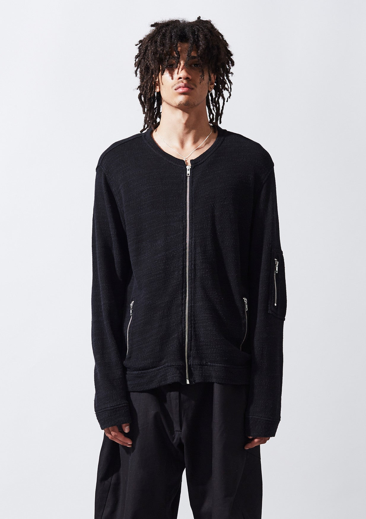 Ruin Zip Thru Sweat - Blk